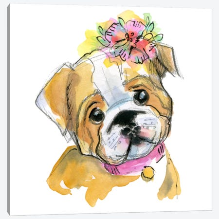 Puppy With Flower Canvas Print #STC143} by Stephanie Corfee Canvas Art Print