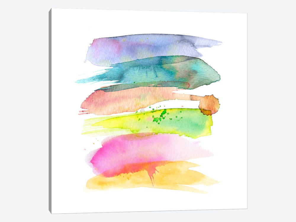 Stacked Watercolor Swooshes by Stephanie Corfee 1-piece Canvas Wall Art