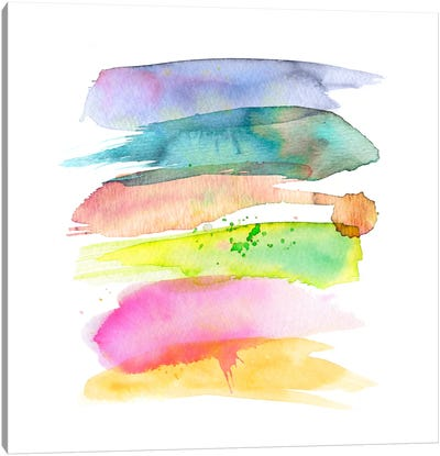 Stacked Watercolor Swooshes Canvas Art Print