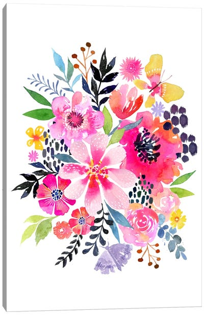 Watercolor Floral Burst Canvas Art Print