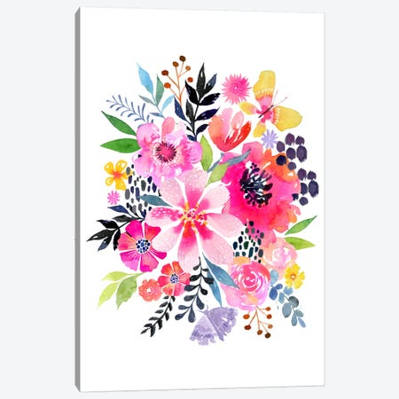 Watercolor Floral Burst Canvas Print #STC154} by Stephanie Corfee Canvas Print