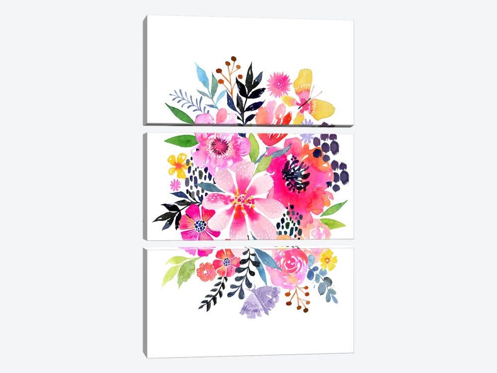 Watercolor Floral Burst by Stephanie Corfee 3-piece Canvas Print