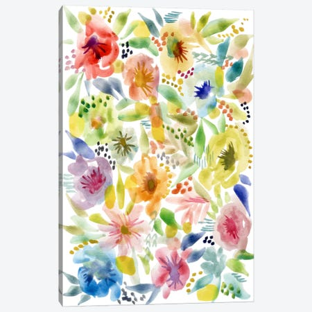 Watery Flowers Canvas Print #STC158} by Stephanie Corfee Canvas Wall Art