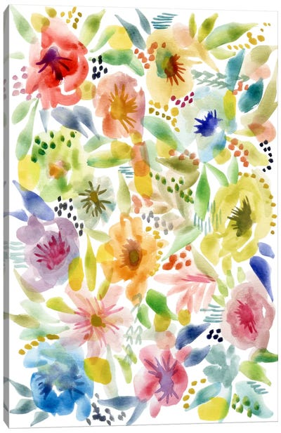 Watery Flowers Canvas Art Print
