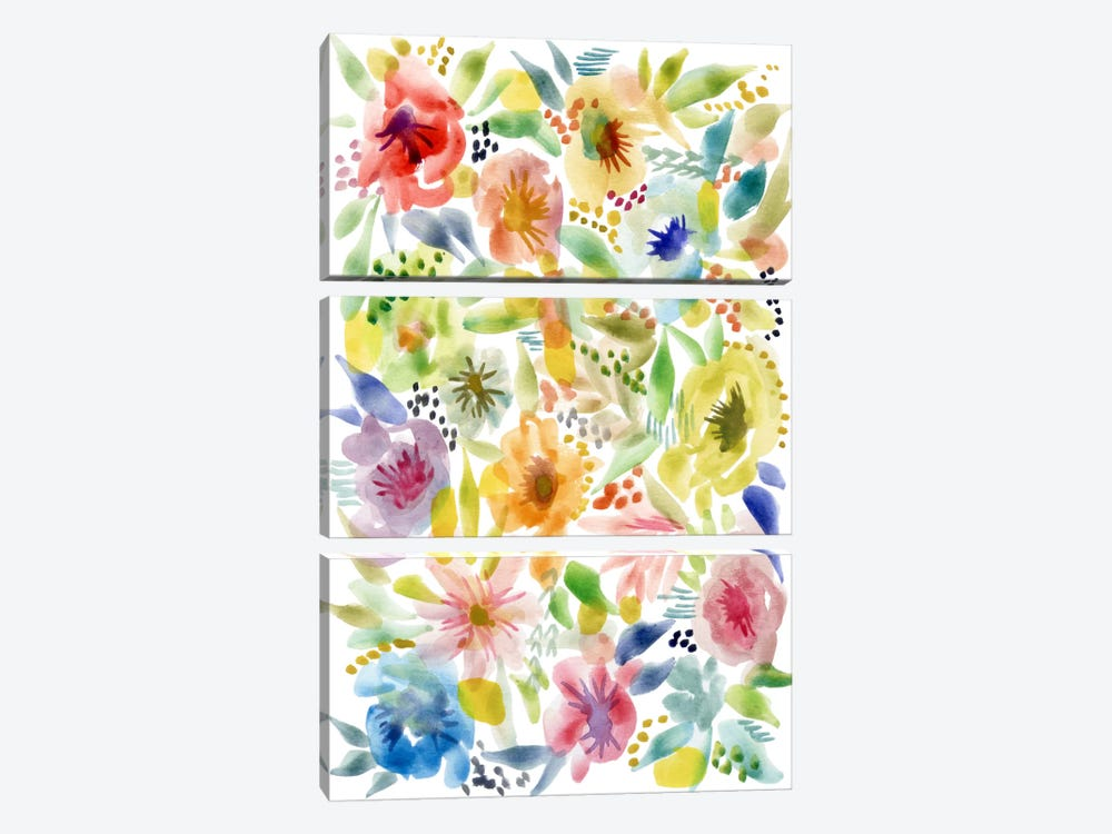 Watery Flowers by Stephanie Corfee 3-piece Art Print