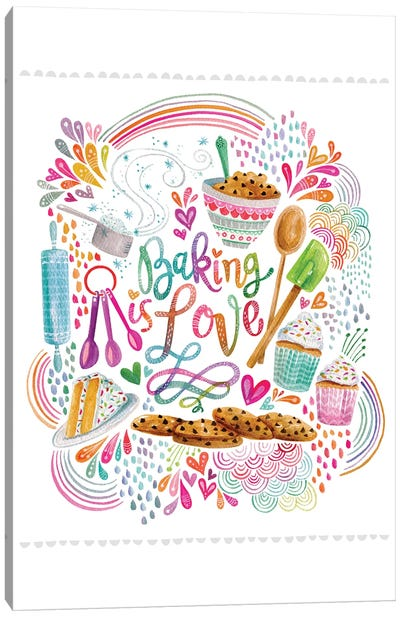 Baking Is Love On White Canvas Art Print