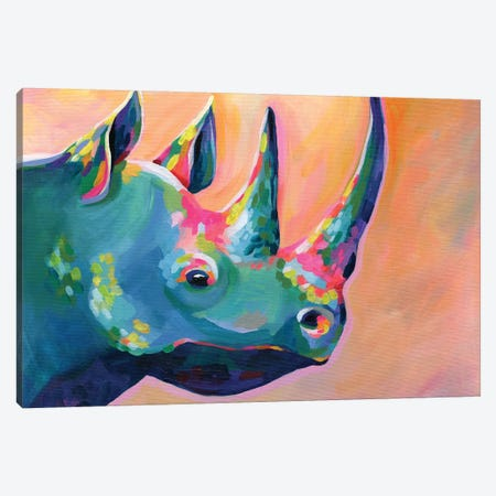 Rainbow Rhino Coral Canvas Print #STC182} by Stephanie Corfee Canvas Art Print