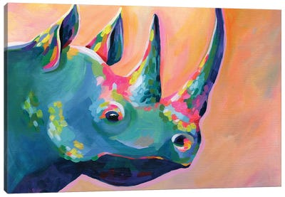 Rainbow Rhino Coral Canvas Art Print
