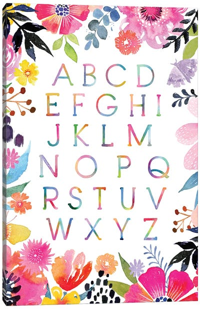 Floral Burst Alphabet Canvas Art Print