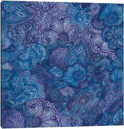 Flourish Indigo Canvas Art Print