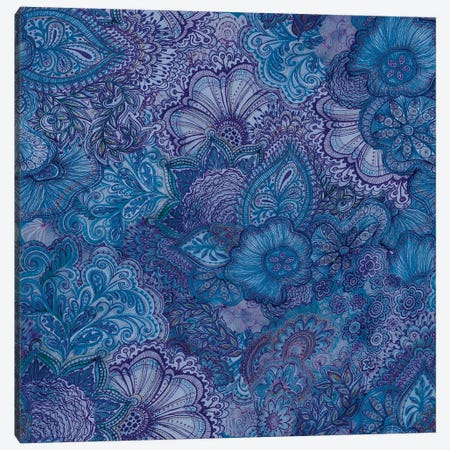 Flourish Indigo Canvas Print #STC30} by Stephanie Corfee Canvas Art Print