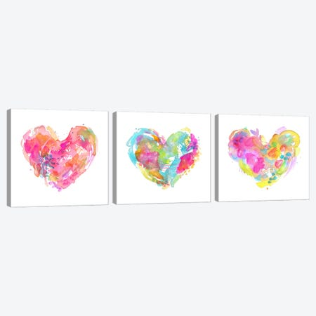 Messy Watercolor Heart Triptych Canvas Print Set #STC3HSET001} by Stephanie Corfee Canvas Artwork
