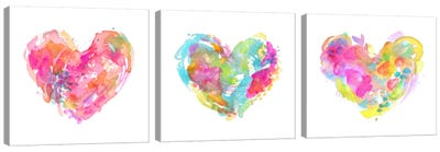 Messy Watercolor Heart Triptych Canvas Art Print