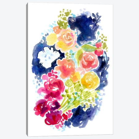 Blue Ink & Blooms Canvas Print #STC90} by Stephanie Corfee Art Print
