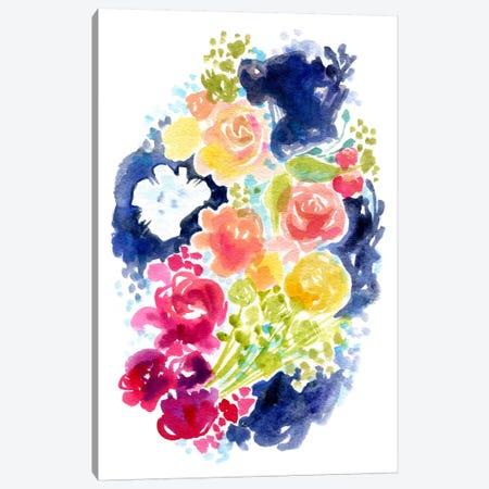 Blue Ink & Blooms Canvas Print #STC90} by Stephanie Corfee Art Print