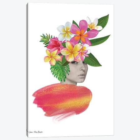 The Tropical Girl Canvas Print #STD109} by Seven Trees Design Canvas Wall Art