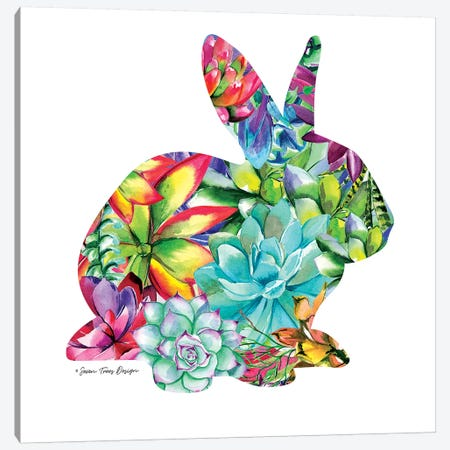 Bunny Watercolor Succulents Canvas Print #STD10} by Seven Trees Design Canvas Wall Art