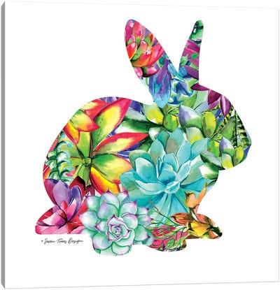 Bunny Watercolor Succulents Canvas Art Print