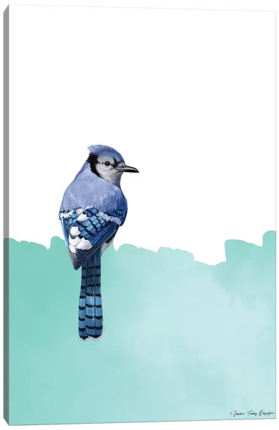 Bird On Blue Canvas Art Print