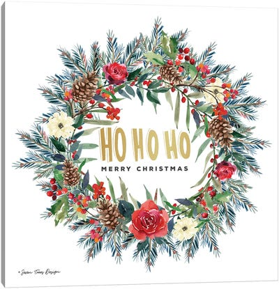 Ho Ho Ho Wreath Canvas Art Print