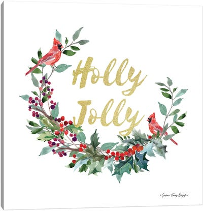 Holly Jolly Cardinal Wreath Canvas Art Print