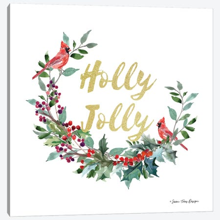Holly Jolly Cardinal Wreath Canvas Print #STD119} by Seven Trees Design Canvas Art Print