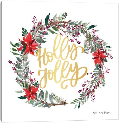 Holly Jolly Poinsettia Wreath Canvas Art Print