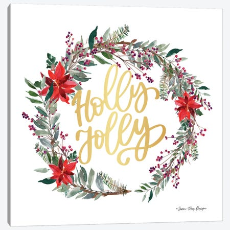 Holly Jolly Poinsettia Wreath Canvas Print #STD120} by Seven Trees Design Canvas Artwork