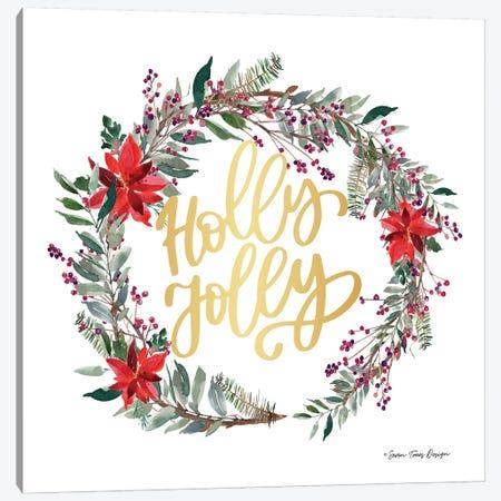 Holly Jolly Poinsettia Wreath Canvas Print #STD120} by Seven Trees Design Canvas Artwork