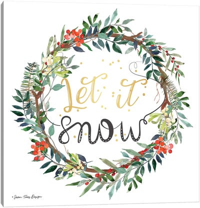 Let It Snow Wreath Canvas Art Print