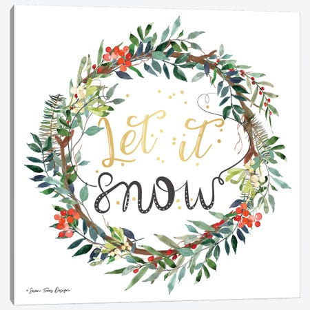 Let It Snow Wreath Canvas Print #STD122} by Seven Trees Design Canvas Wall Art