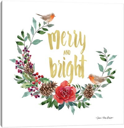 Merry and Bright Robin Wreath Canvas Art Print