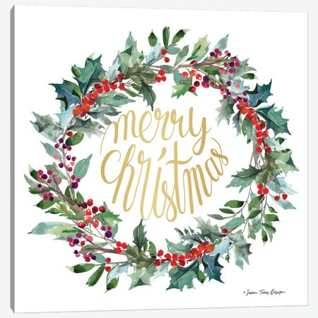 Merry Christmas Holly Wreath Canvas Print #STD124} by Seven Trees Design Art Print