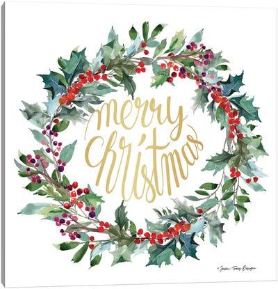 Merry Christmas Holly Wreath Canvas Art Print