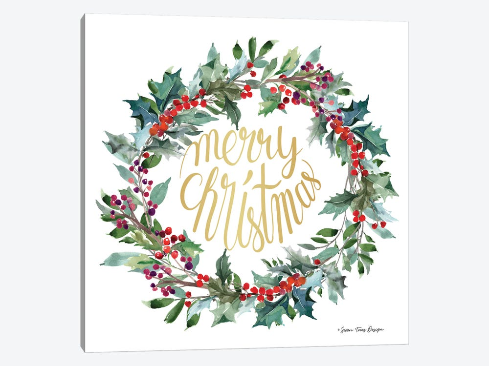 Merry Christmas Holly Wreath by Seven Trees Design 1-piece Canvas Artwork