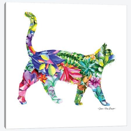 Cat Watercolor Succulents Canvas Print #STD13} by Seven Trees Design Canvas Art