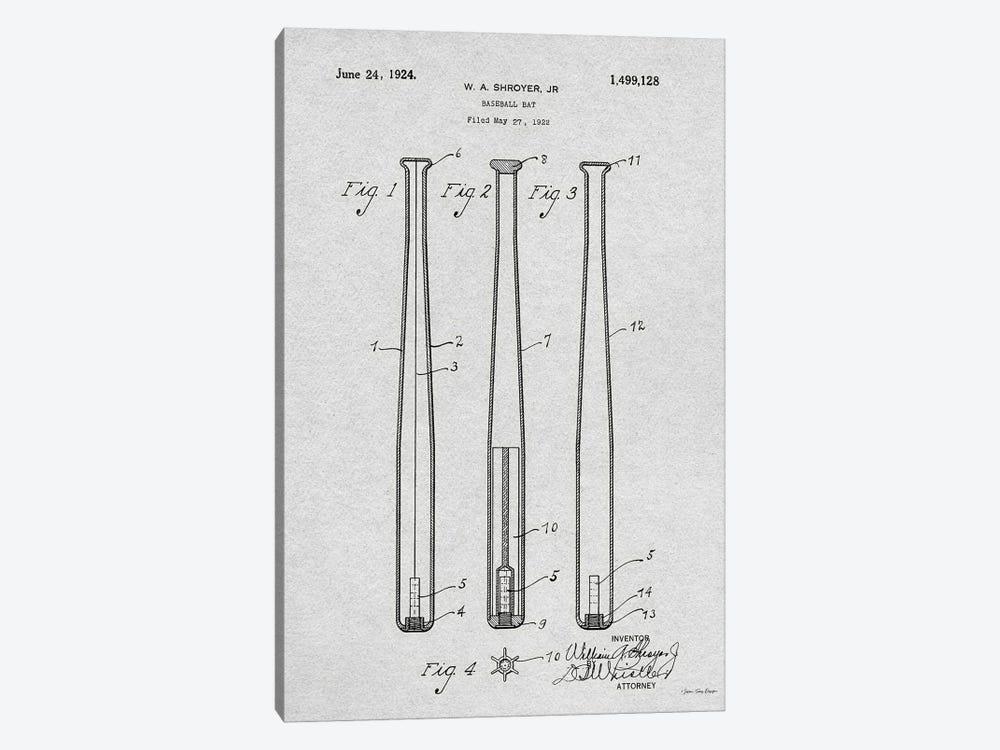 Baseball Bat Patent by Seven Trees Design 1-piece Canvas Art