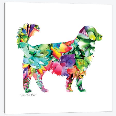Dog Watercolor Succulents Canvas Print #STD16} by Seven Trees Design Art Print
