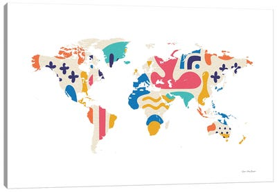 Abstract Colorful World Map Canvas Art Print