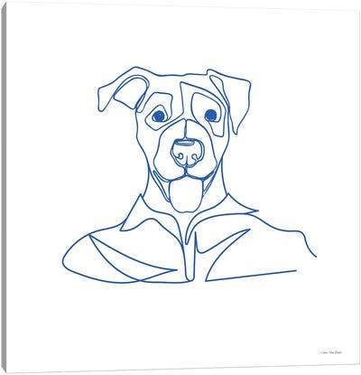 One Line Dog Canvas Art Print