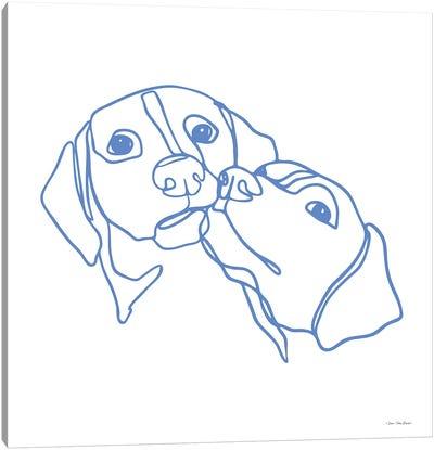 One Line Dog Couple Canvas Art Print