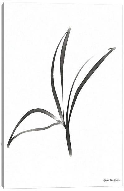 Black Botanical Watercolor Canvas Art Print