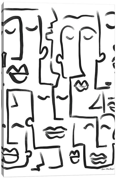 Faces Drawing Canvas Art Print