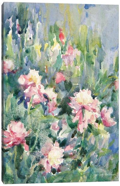Watercolor Garden Of Roses Canvas Art Print