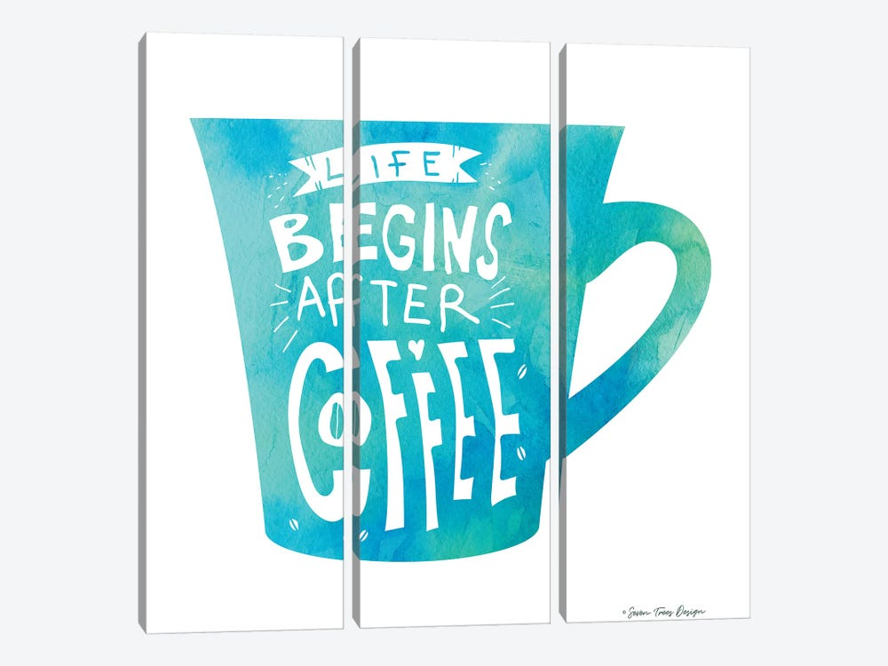 Life Begins After Coffee II by Seven Trees Design 3-piece Canvas Art Print