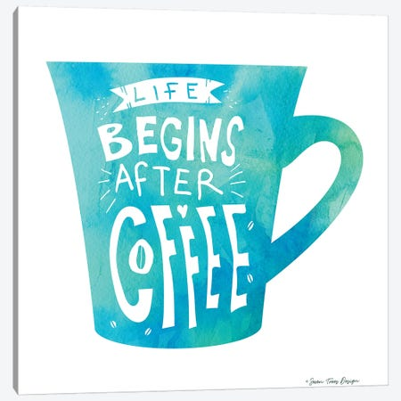 Life Begins After Coffee II Canvas Print #STD35} by Seven Trees Design Canvas Print