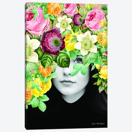 The Girl and the Flowers Canvas Print #STD62} by Seven Trees Design Canvas Art Print