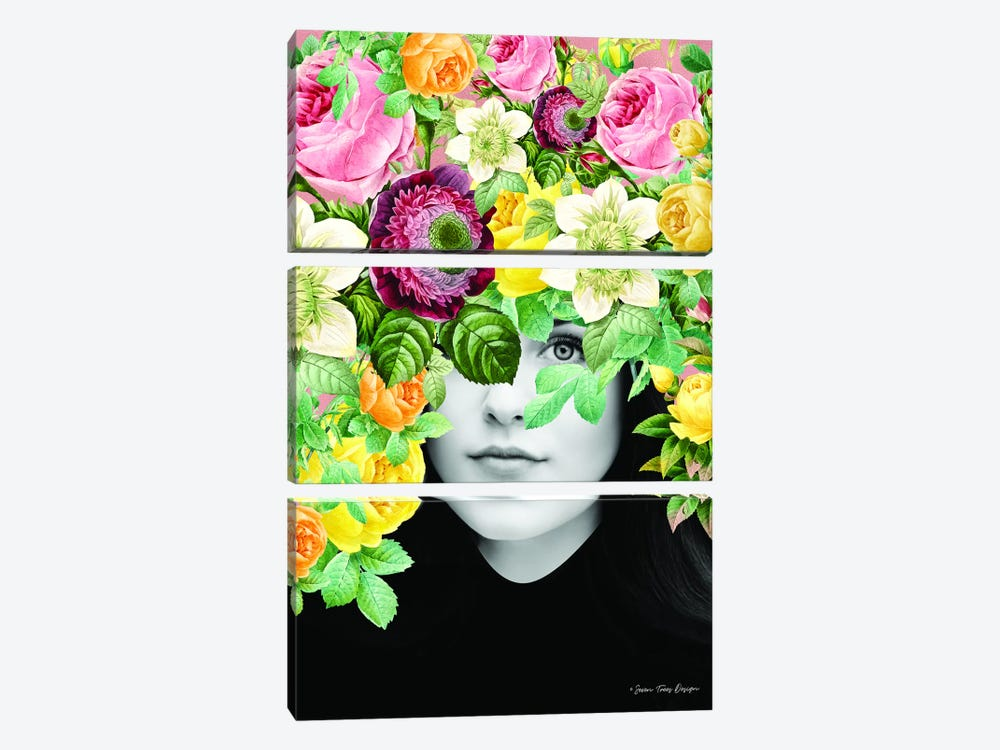 The Girl and the Flowers by Seven Trees Design 3-piece Canvas Art Print