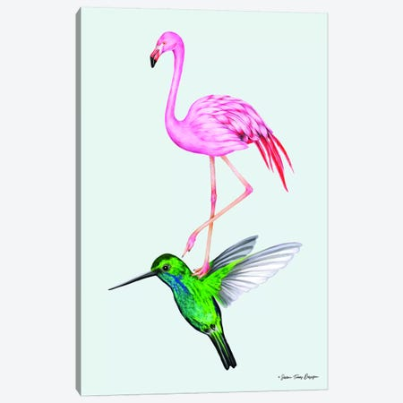 The Hummingbird and the Flamingo Canvas Print #STD63} by Seven Trees Design Canvas Print