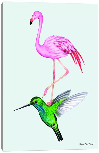 The Hummingbird and the Flamingo Canvas Art Print
